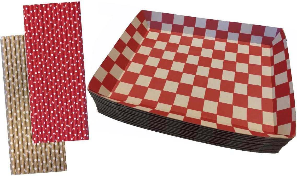 Checkered Kraft Paper Lunch Trays - Paper Straws - 20 Trays and 50 Straws - Red Kraft Brown