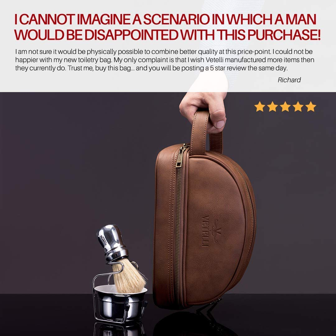Vetelli Leather Toiletry Bag For Men (Dopp Kit) with free Travel Bottles. The perfect gift and travel accessory. by Vetelli
