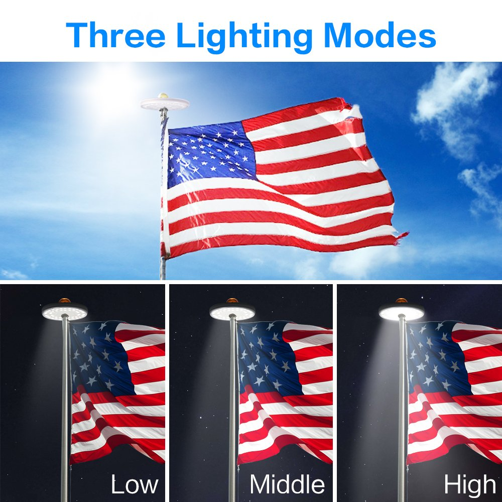 Solar Flag Pole Light 3 Modes totobay Weatherproof Flagpole Downlight 800Lux- Flag Pole Lighting for 15 to 25 Ft Flag Pole Topper 48 LED Auto On//Off Night Light Eco-Friendly and Energy-Saving