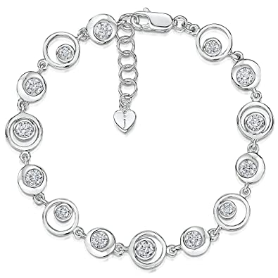 JOOLS by Jenny Brown ®- Sterling Silver Bangle- With One Cubic Zirconia Set Stone D5W9Vf49K
