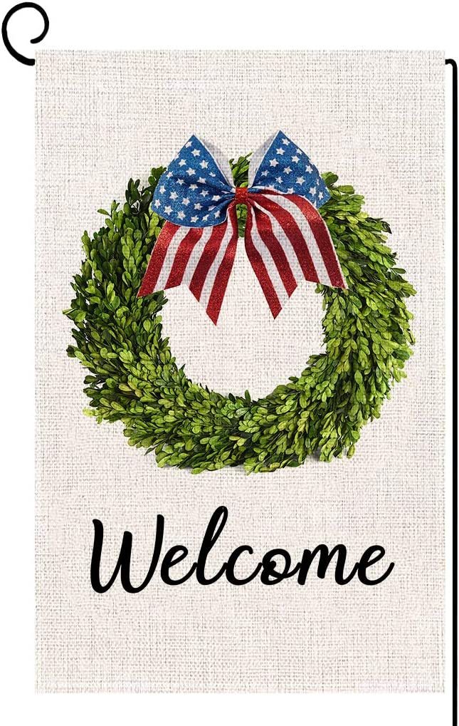 ORTIGIA Welcome Fall Boxwood Wreath Garden Flag American Patriotic 4th of July Independence Day Double Sized Memorial Day Yard Outdoor Decoration Burlap 12.5 x 18 Inch