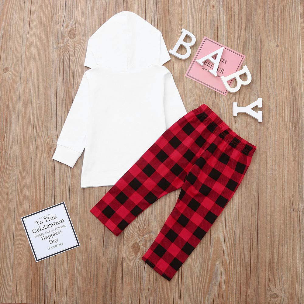 Dream/_mimi Baby Girls Long Sleeve Christmas Letter Printing Hooded Top+Plaid Pants Set