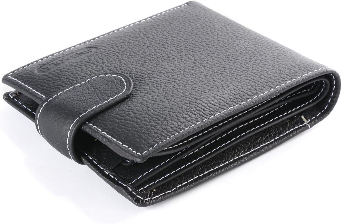 Billetera Hombre Cuero Original Sujetadora Tarjeta Crédito Identificación Dinero - Negro