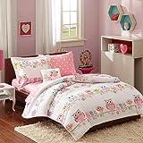 Pink, Blue & Purple Owls Girls Full Comforter Set (8 Piece Bed In A Bag) + HOMEMADE WAX MELT