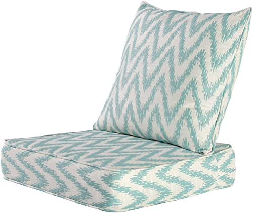 MAXDIVANI Indoor Outdoor Deep Seating Patio Chair Seat and Back Cushion Set, Spring Summer Seasonal Water Repellent Fabric Cushions Blue White
