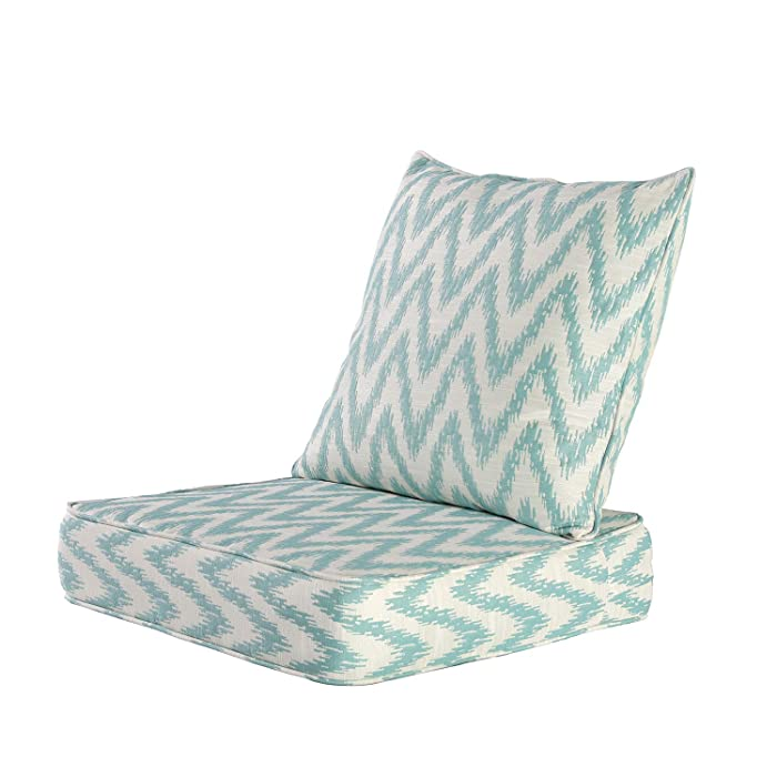 MAXDIVANI Indoor/Outdoor Deep Seating Patio Chair Seat and Back Cushion Set, Spring/Summer Seasonal Water Repellent Fabric Cushions (Blue White)