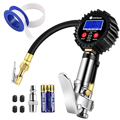 "Akface Digital Tire Inflator with Pressure Gauge,Compressor Accessories with Led Display for 0.1 Display Resolution,Rubber Hose,250 PSI Air Chuck,Heavy Duty Steel Trigger,1/4"" NPT Quick Connector: Automotive [5Bkhe1003236]"