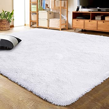 Lochas Ultra Soft Indoor Modern Area Rugs Fluffy Living Room Carpets For Children Bedroom Home Decor Nursery Rug 5 3x7 5 Feet White Furniture Decor