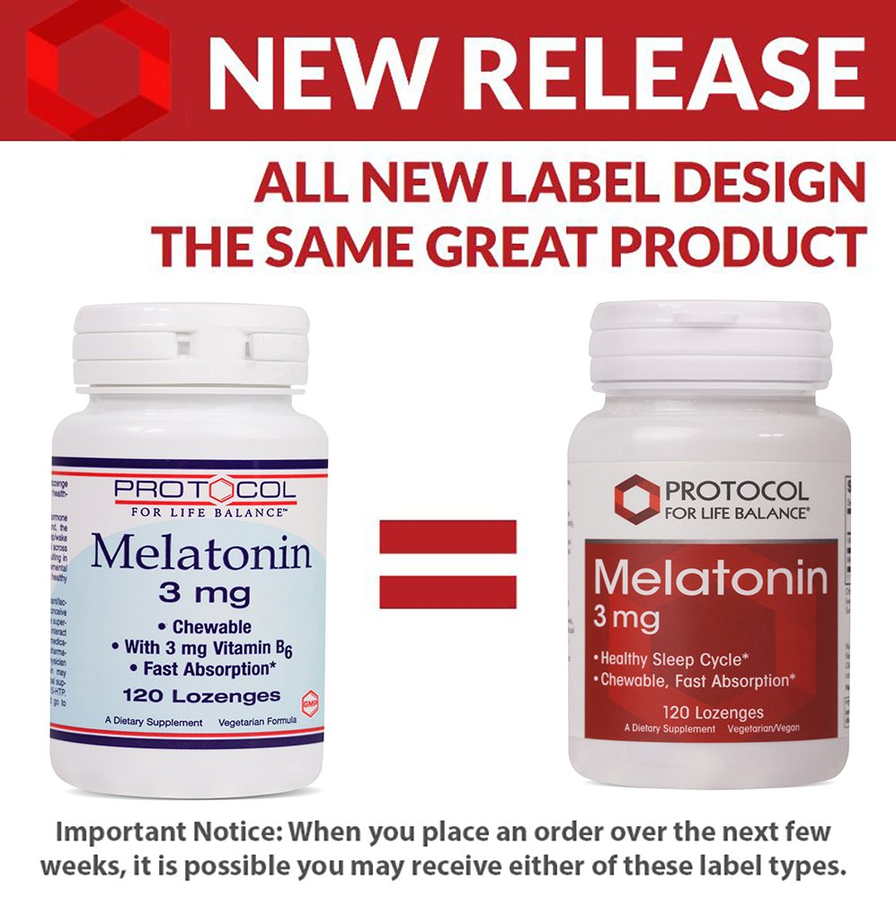 Amazon.com: Protocol For Life Balance - Melatonin 3 mg - Chewable with Vitamin B6 for Fast Absorption that Encourages Healthy Sleep and Gastrointestinal ...