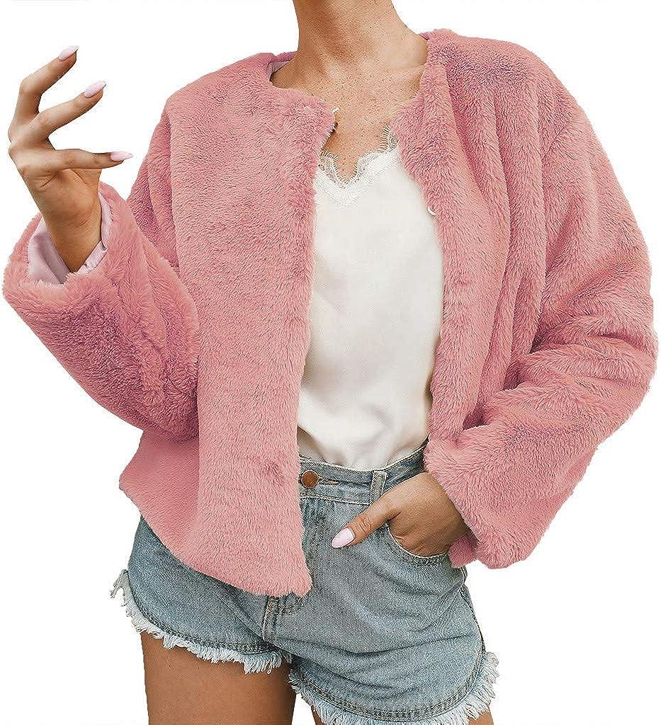 IEason Winter Women Short Coat Ladies Warm Faux Fur Coat Jacket Solid Wild Outerwear