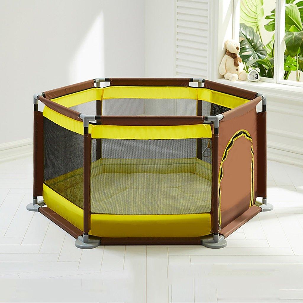 注目のブランド 幼児のフェンスの赤ちゃんは、赤ちゃんは B07DZ4YPWQ color)、マット付きの子供の安全柵家庭用ポータブルプレイペン (色 : Yellow coffee coffee color) Yellow coffee color B07DZ4YPWQ, ウェブユニフォーム:23c68168 --- a0267596.xsph.ru