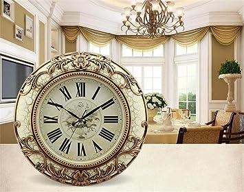 Relojes de pared en 20 pulgadas de silencio salón reloj de pared moderno reloj de pared creativo pared reloj reloj de cuarzo retro gran (Color : White ...