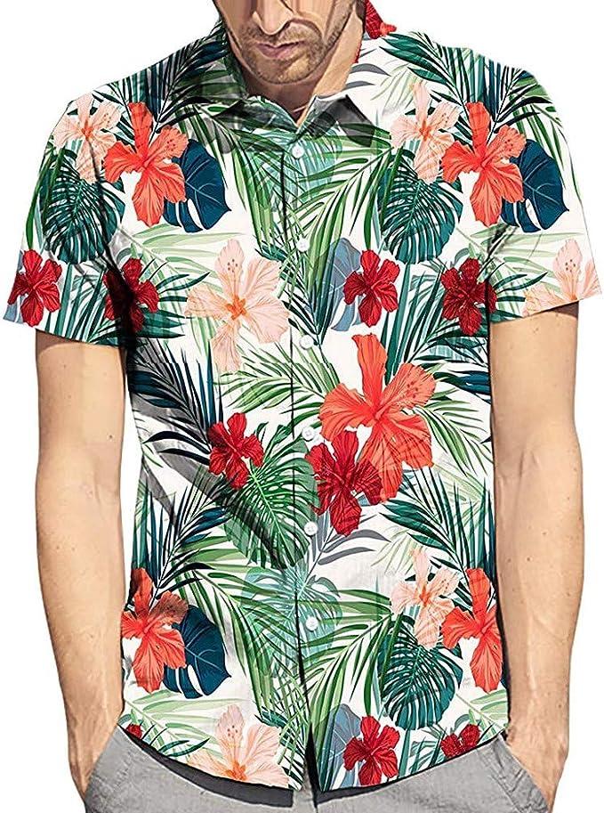 SUDADY Camisas para Hombre, Estilo Hawaiano Camisa Cardigan Hombre ...