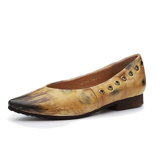 Mocasines de Mujer con tacón bajo y Punta Puntiaguda Zapatos cómodos Vintage de Cuero Genuino sin Cordones Bombas Planas de Moda Casual Primavera y Verano: ...