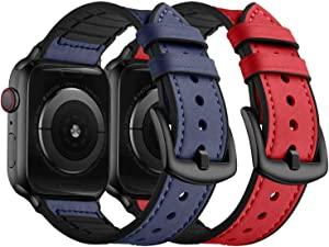 Watdoc Compatible for Apple Watch Band 42mm 44mm 40mm 38mm,Sweatproof Leather Silicone Hybrid Band Strap Bracelet Men Women for iWatch Band Series 5/4/3/2/1 (Blue+Red, 42mm/44mm)