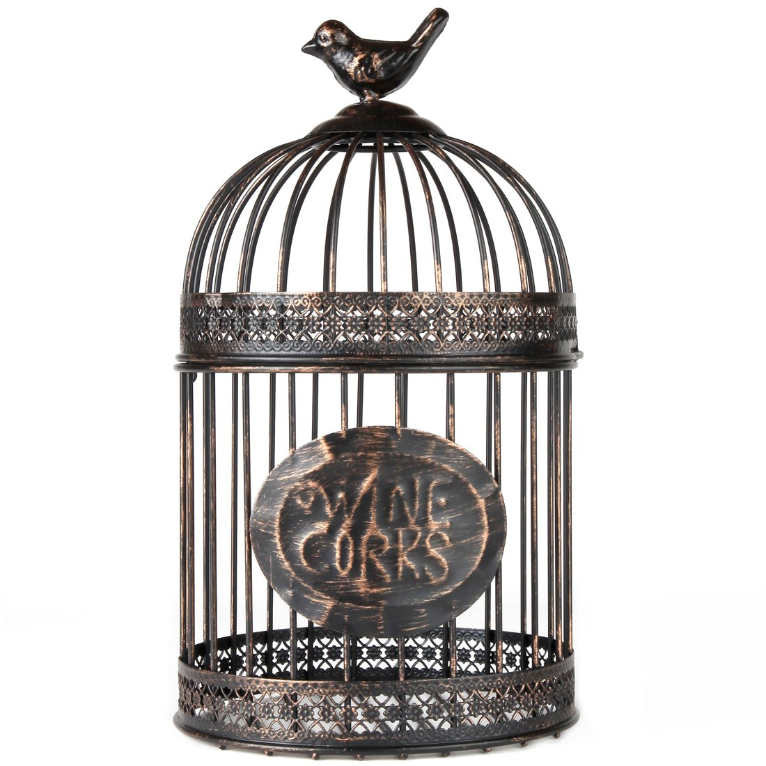 Home-X Keepsake Wine Cork Holder. Rustic Metal Birdcage 12''