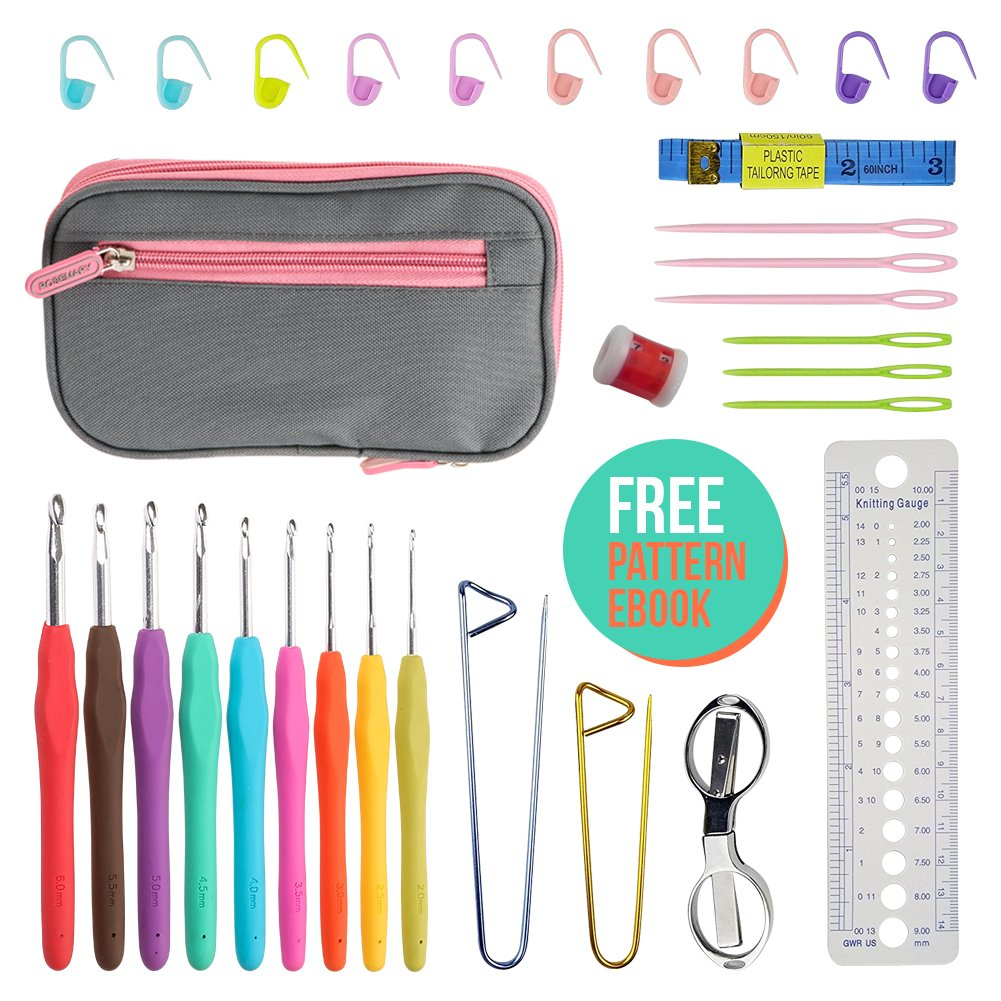 31pcs Ergonomic Crochet Kit Hook Set with Hooks Scissors Safety Pins Markers Row Counter Gauge Yarn Needles Measuring Tape and Case - Perfect for Arthritic Hands Beginner to Professional