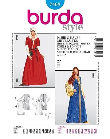 Burda Schnittmuster 7468 Mittelalter Kleid & Haube Gr. 36-54: Amazon ...