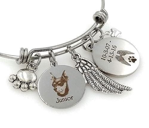 Miniature Pinscher Bangle Bracelet-Personalized Min Pin Engraved Expandable