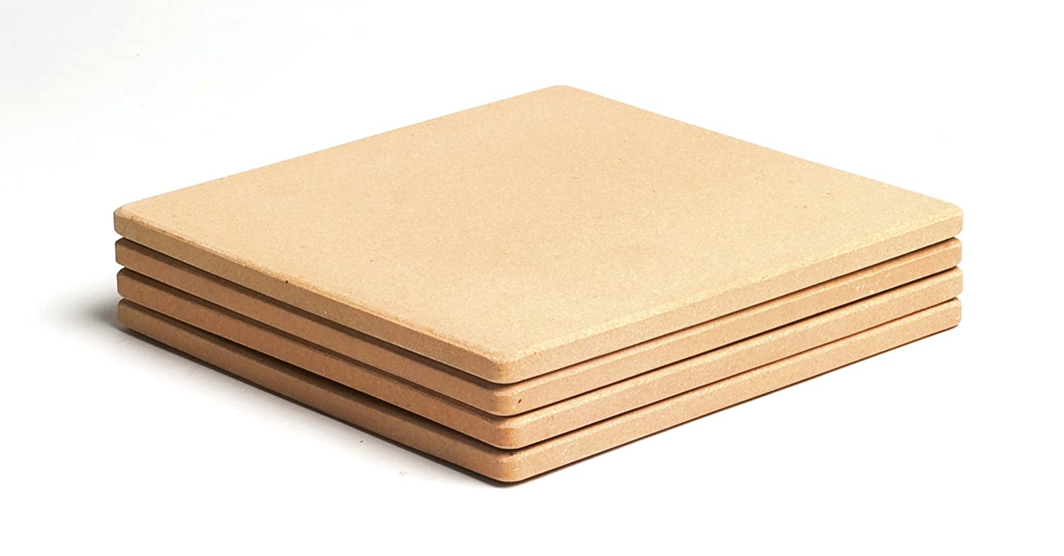 """Pizzacraft PC0103 7.5"""" Square ThermaBond Mini Baking/Pizza Stones, Set of 4"""