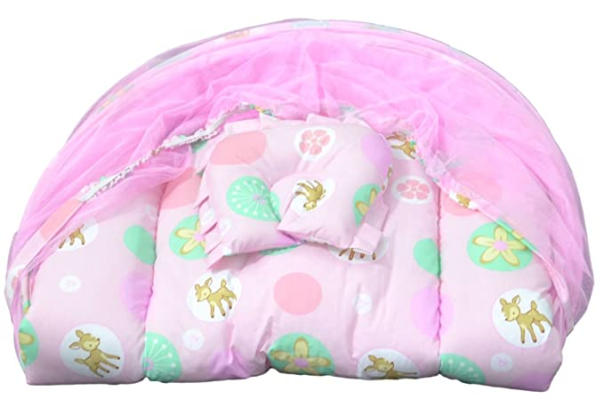 Advance Baby Mattress Set With Mosquito Net Deer Print - Pink