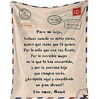 QKFON Manta premium para mi hija/hijo, manta de estilo sobre con impresión de carta, duradera y cómoda manta de franela…