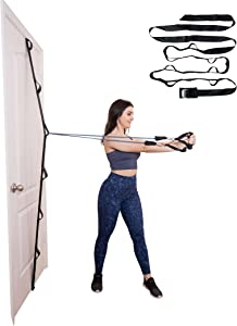 Door Gym Band - Full Body Multi-Position Home Gym Anchor System for Resistance Bands - Heavy Duty Band with Loops