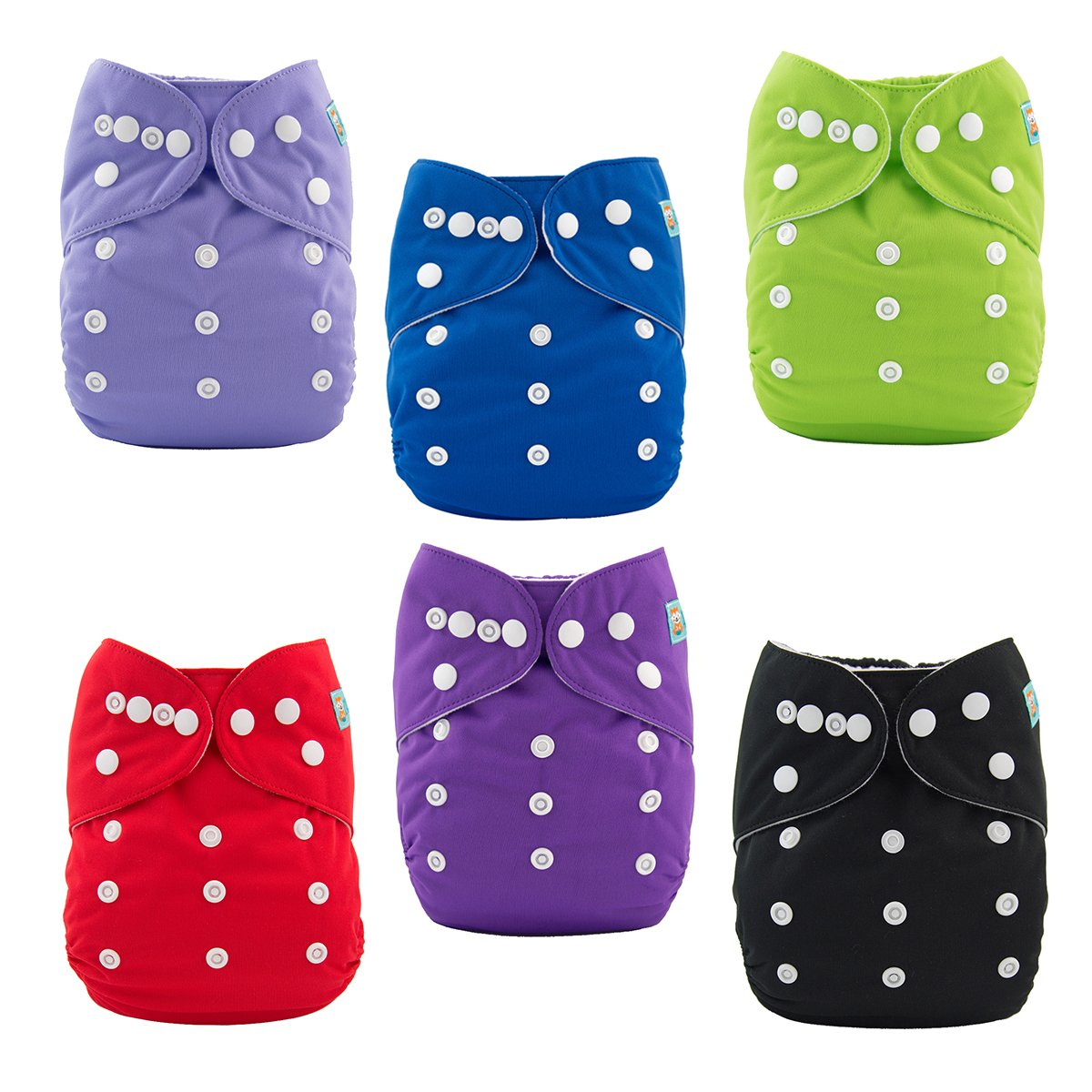 ALVABABY Baby 6pcs Pack Pocket Cloth Diaper with 2 Inserts Each (Girl Color)6DM03 6DM03-97