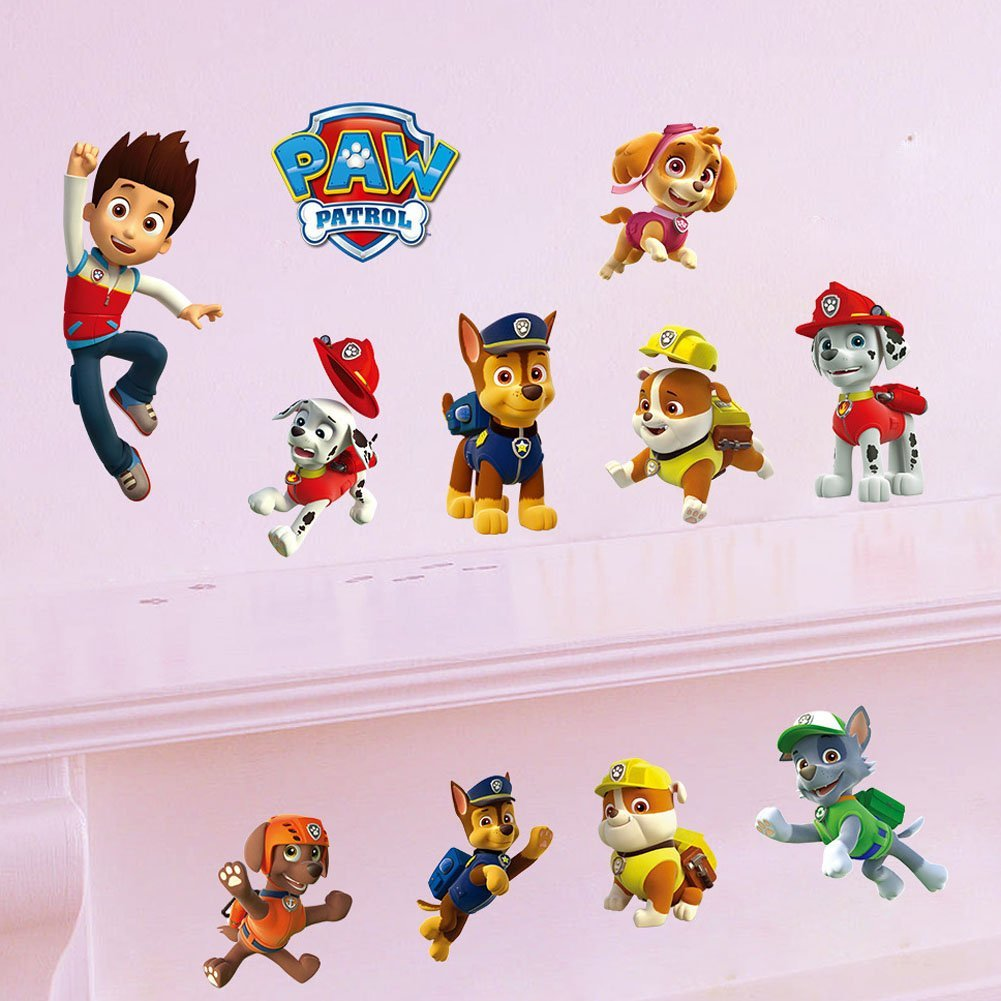 Fange DIY Removable PAW Patrol Cartoon Dogs Vinyl Waterproof Wall Stickers Kindergarten Decor Bedroom Decal Sticker for Kids 23.6''x11.8''