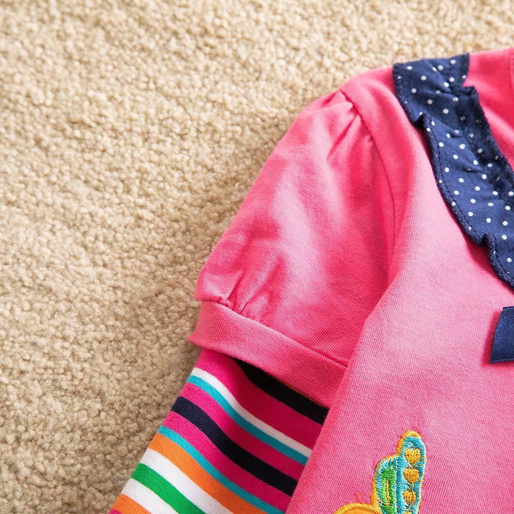 LABIUO Vetement B/éb/é Fille T-Shirt Manches Longue Coton Broderie Fleurs Imprim/é Col Rond Printemps Automne Sweat-Shirt Haut