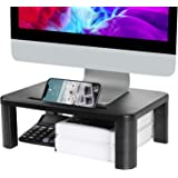 LORYERGO Monitor Stand Riser - 3 Height Adjustable Monitor Stand with Storage Function for Computer, Laptop, Screen, Desktop