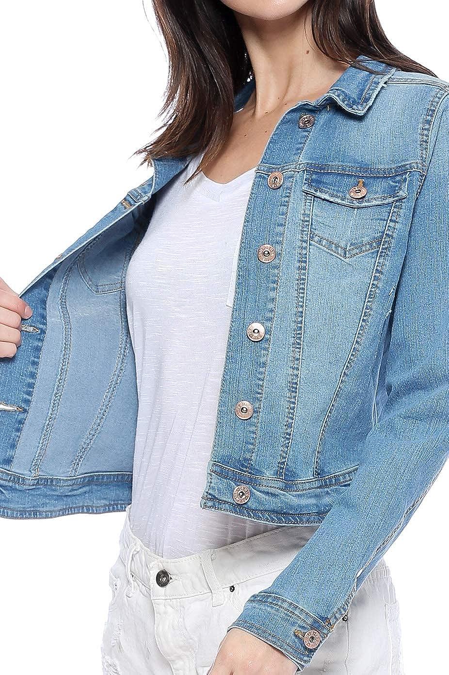 Urban Look Womens Casual Stretch Denim Jean Jacket