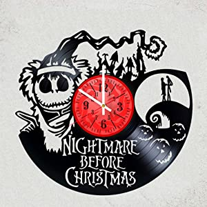 The Nightmare Before Christmas Vinyl Wall Clock - Prfect Gift idea for Children,Adults,Men,Women - Decorate Your Home - Nightmare Before Christmas Art Wall Poster - Tim Burton`s Pumpkin King