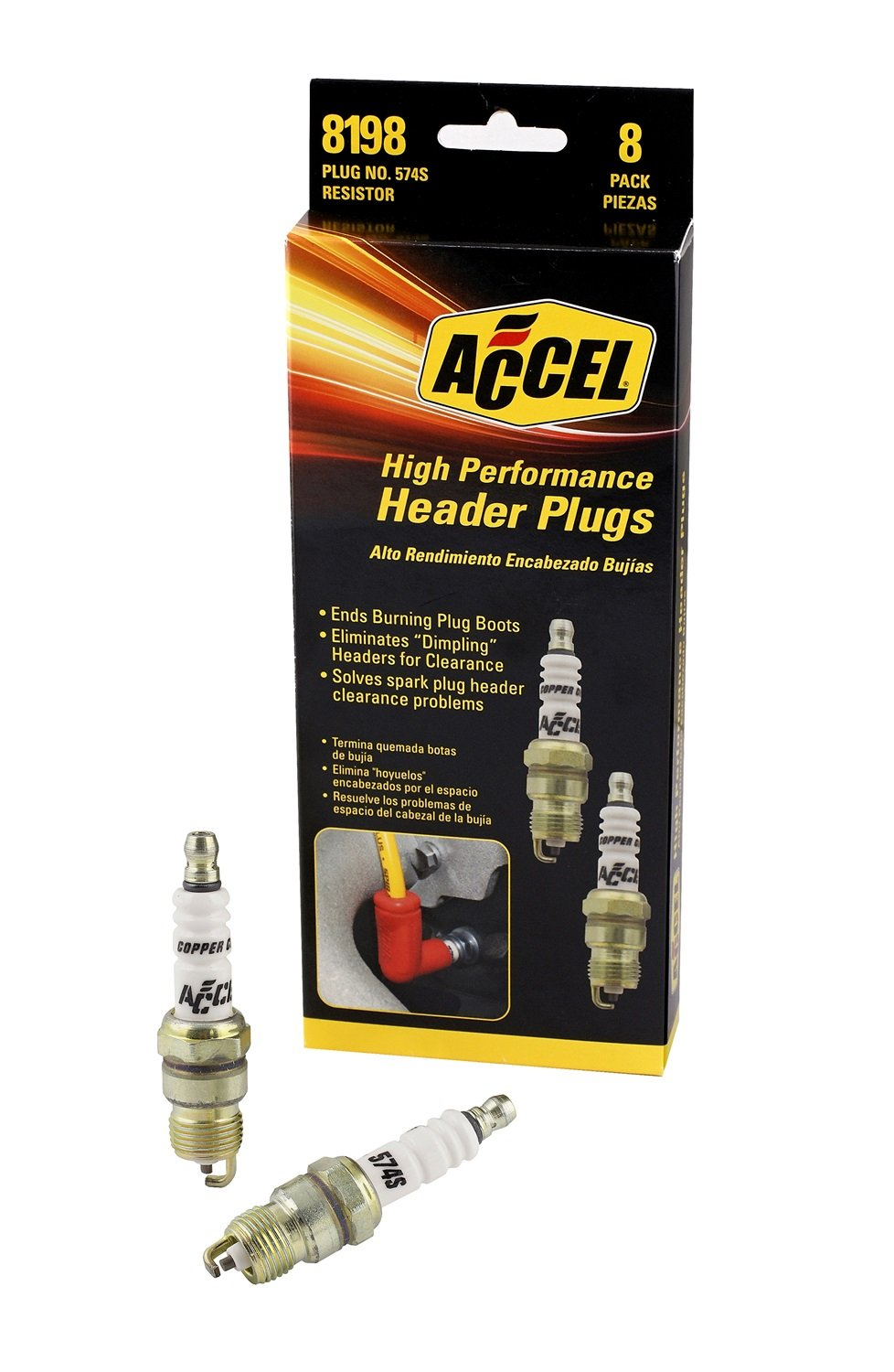 ACCEL 8198 Performance U-Groove Header Spark Plug - Pack of 8 by ACCEL