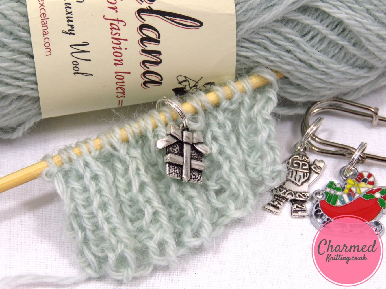 Santa And His Sleigh 5 Silver Knitting Stitch Markers