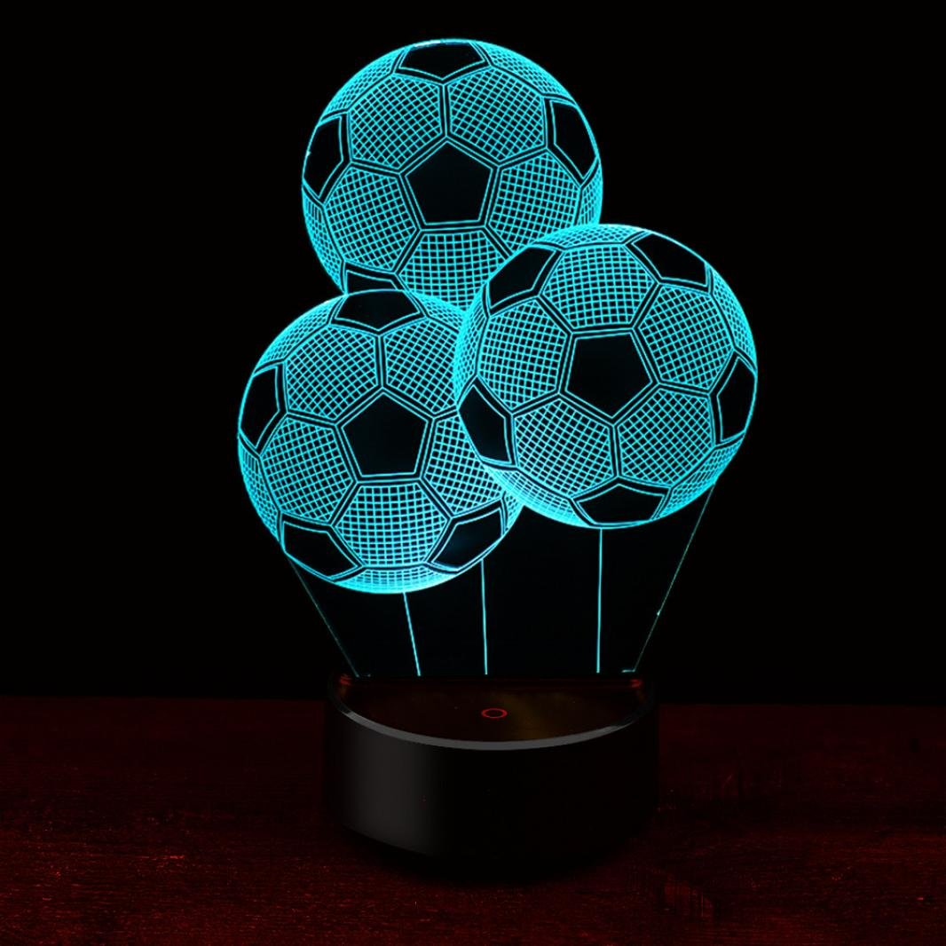 Vacally Football 3D Night Light Table Desk Lamp 7 Colors 3D Optical Illusion Lights for Kids Bedroom Home Decor