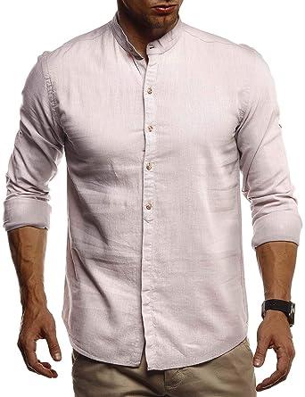 LEIF NELSON Herren Leinenhemd Hemd Kurzarm Sommer T Shirt Stehkragen 100% Baumwolle | Männer Freizeithemd Slim Fit Kurzarmhemd | Jungen Basic Shirt