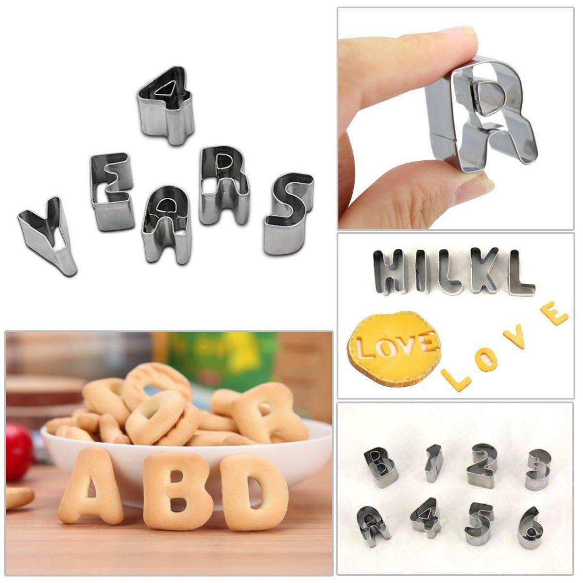 Tagliapasta lettere numeri alfabeto set di 37 formine stampi per biscotti da forno