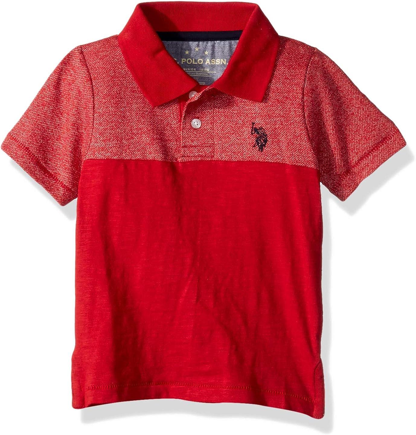 Polo Assn U.S Boys Short Sleeve Marled Pique Polo Shirt