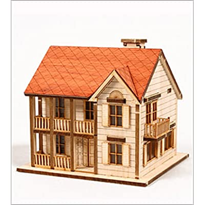 DESKTOP Wooden Model Kit Western House 1 by Young Modeler: Toys & Games