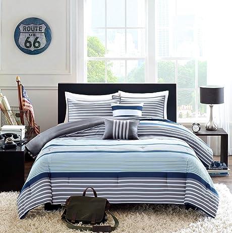 Teen Boys Bedding Rugby Stripe Blue Gray White Green FULL QUEEN Comforter +  2 Shams +
