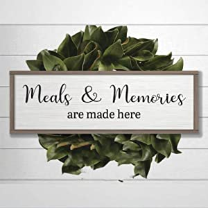 DONL9BAUER Framed Sign Meals & Memories are Made Here, Farmhouse Decor Housewarming Present, Last Name Sign, Home Decor Sayings, Minimalist Hygge Art Home Decor