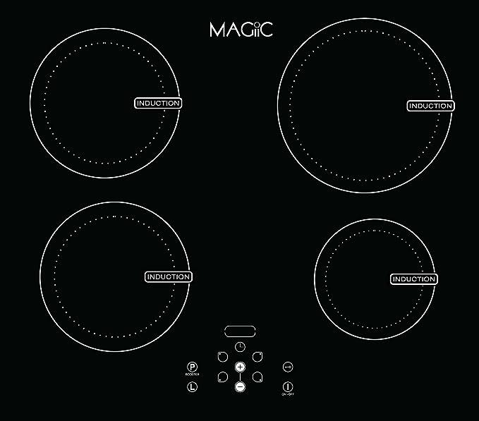 Magiic - Placa de cocción por inducción de 4 fuegos, 7200 W ...