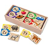 Melissa & Doug Self-Correct Counting Alphabet Wooden Puzzles With Storage Box (52 pcs)