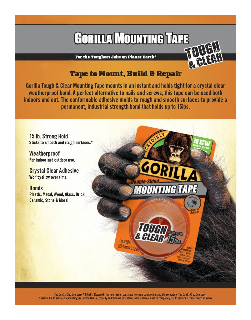 Gorilla 6065001-6 Double-Sided Tough and Clear Mounting Tape (6 Pack), 1'' x 60'', Clear by Gorilla (Image #2)