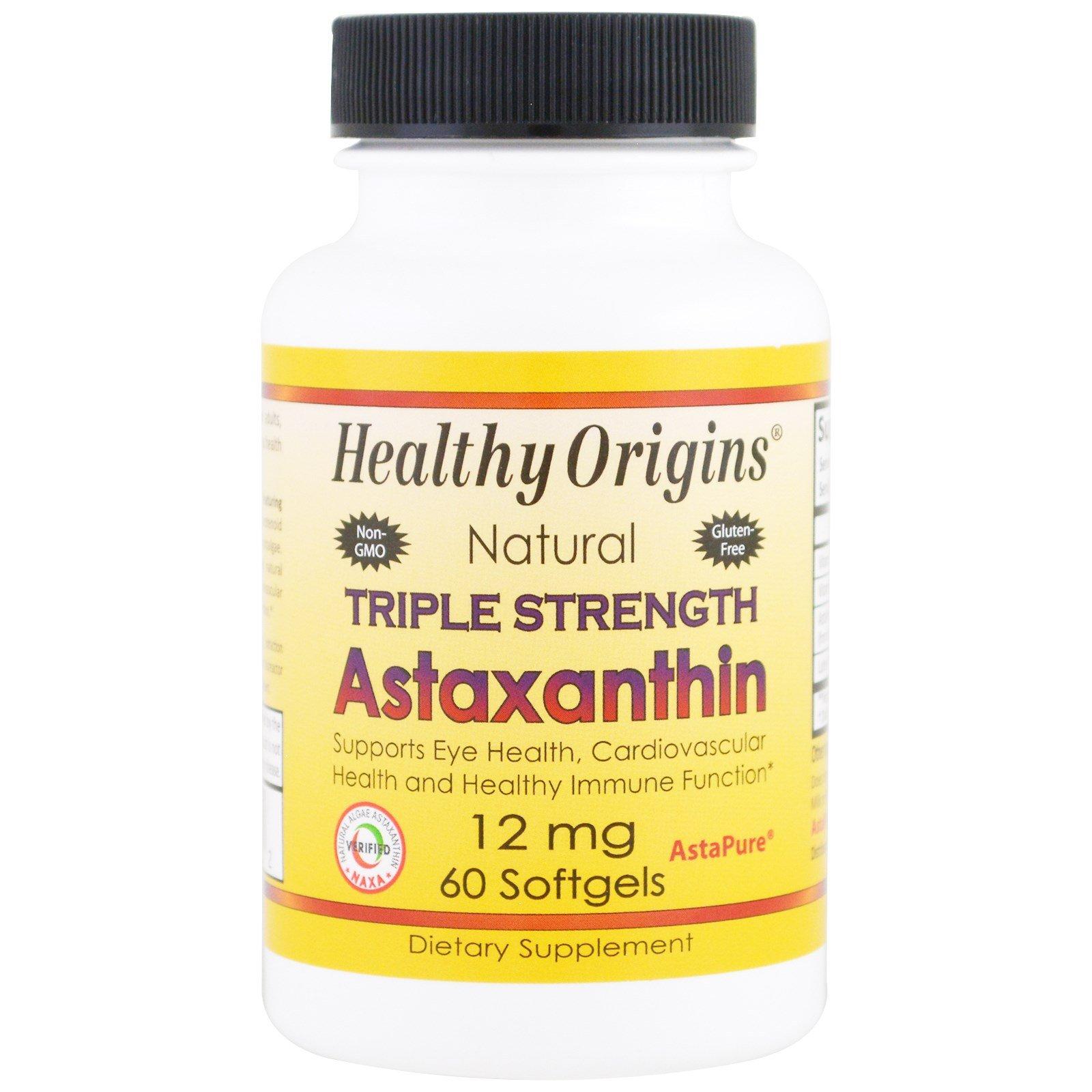Healthy Origins, Natural Triple Strength Astaxanthin, 12 mg, 60 Softgels - 3PC