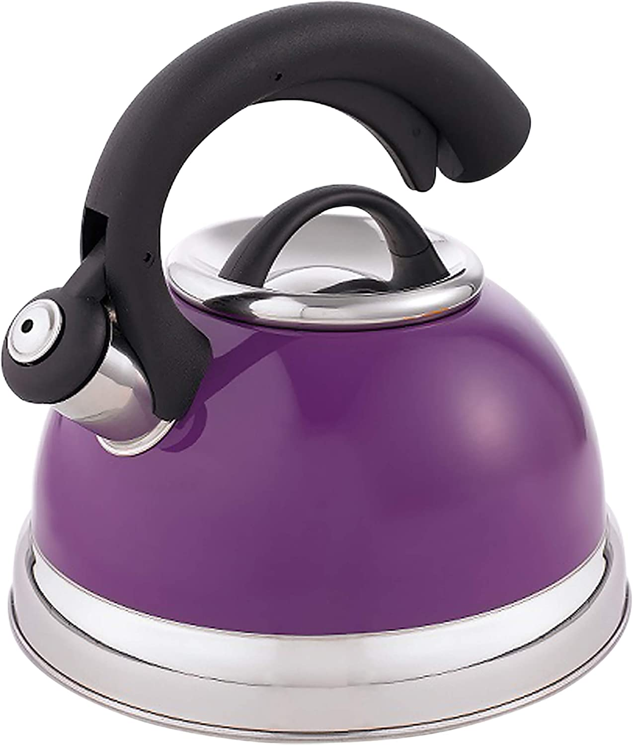 Creative Home Symphony 2.6 Qt. Stainless Steel Whistling Tea Kettle with Aluminum Capsulated Bottom for Even Heat Distribution, Purple