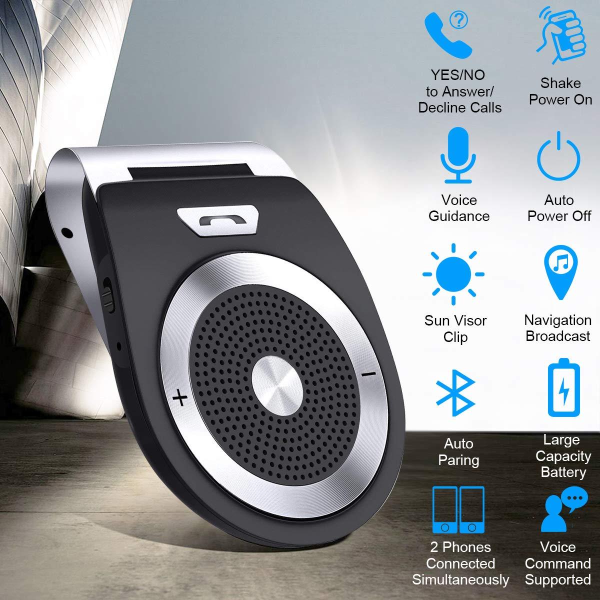 Bluetooth inalámbrico Coche Manos Libres, Kit de Manos Libres Visor Coche con la última versión 4.1 para iPhone, Samsung, HTC, LG, teléfonos Android: ...