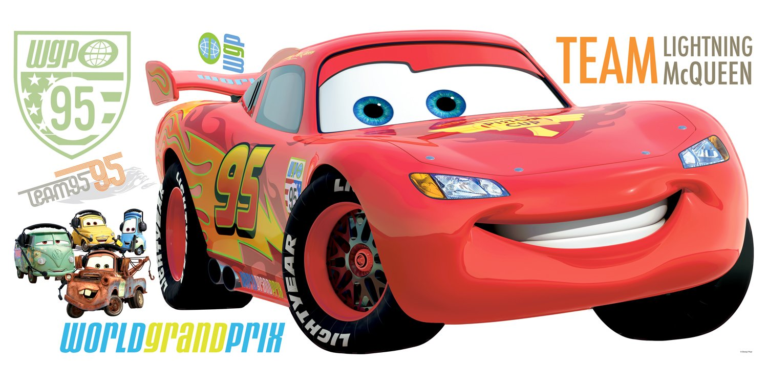 Roommates rmk1582gm disney pixar cars 2 lightning mcqueen peel roommates rmk1582gm disney pixar cars 2 lightning mcqueen peel stick giant wall decal decorative wall appliques amazon amipublicfo Gallery