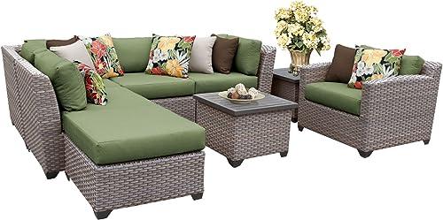 TK Classics FLORENCE-08g-CILANTRO 8 Piece Outdoor Wicker Patio Furniture Set